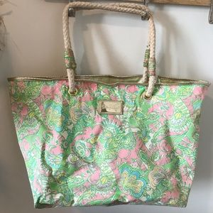 Lilly Pulitzer Elephant Monkey print beach tote